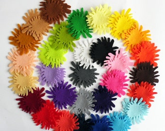 Felt Flower Ava 7, felt Shapes, 60 pieces, Felt flower, Die Cut Shapes, Applique, Party Supply, DIY Wedding, felt supplies, felt craft
