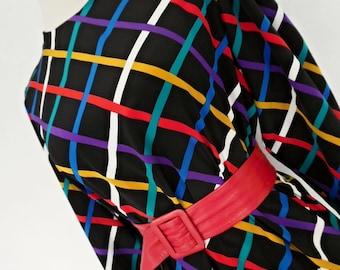 SALE:))) RAINBOW CHECKS . Wonderful Geometric Bright Op Art Graphics Print Midi Dress 80s Black Blue Yellow Red S