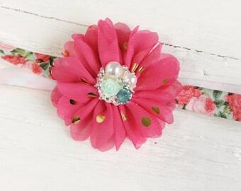 Pink aqua flower baby girl headband toddler headband flower headband matilda jane m2m flower infant newborn headband baby gift for girl