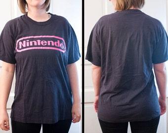 80s Nintendo shirt - True Vintage pink NES t-shirt - Gaming console tee