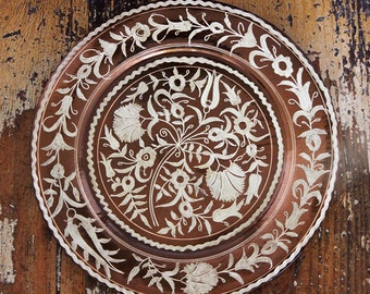 Vintage Carved Copper Plate Handmade Metal Wall Hanging