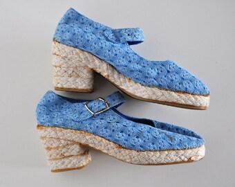 NOS Vintage Baby Blue Heeled Espadrilles Knit Lace Platform Mary Janes