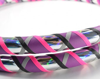 UV Rinbow Swirl Collapsible Hula Hoop / Made to Order / Unique Gift / Custom / Any Size / Any Tubing / Travel Hoop / Holographic / UV glow