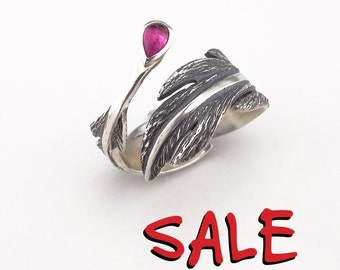 Feather Ring Silver Feather Ring Pink Tourmaline Feather Ring Wrap Around Ring Feather Jewellery Natural Stone Ring - Sterling Silver (925)