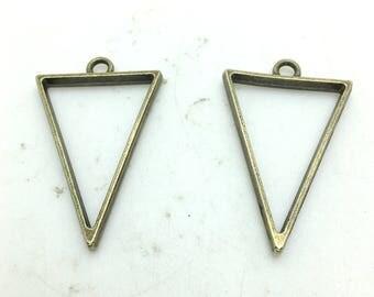 Drop Charms -10pcs Antique Bronze Simple Triangle Drop Charm Pendants 35x25mm