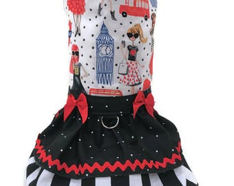 London Designer Cat Dress-Cat Dresses-Couture Cat Clothes-Cat Clothes-Cat Clothing-Cat Fashions-Dresses for Cats-Red and Black Cat Dress