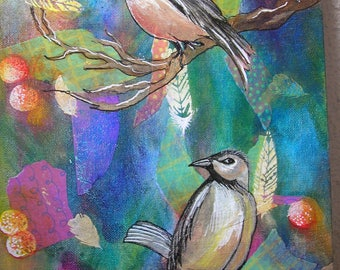 Mix Media original OOAK acrylic painting on canvas. Two birds