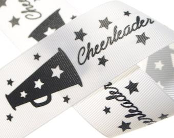 """1.5"""" Cheerleader White Printed Grosgrain - Three, Five, or Ten Yards"""