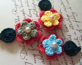 Small Crochet Flowers and Leafs Appliques. Handmade Crochet Flowers and Leafs. Crochet Appliques.