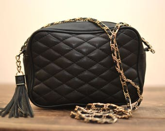 Vintage Black Quilted Leather Small Chain Strap Crossbody Bag with Oversized Tassel