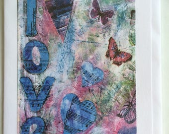 Love Collage - A5 Blank Greetings Card From Original Mixed Media Collage/Painting