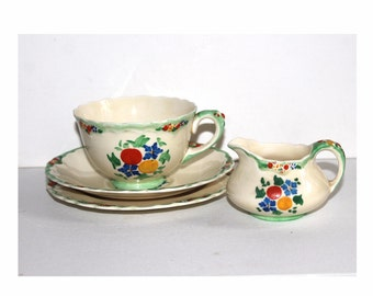 Crown Ducal Old Hall trio with matching creamer. Old Hall cup saucer and plate. Art Deco china. Crown Ducal Premier shape