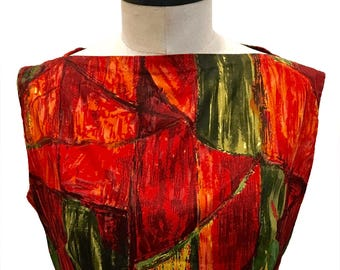 VintageE c.1960 / Expressionist / Geometric /  Dress / Size M