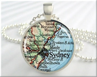 Sydney Map Pendant Resin Charm Sydney Australia Travel Map Necklace Picture Jewelry (251RS)