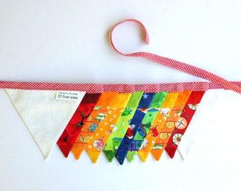 Mini Fabric Bunting - Rainbow Patchwork Bunting - Photo Prop, Party Decor, Fabric Garland, Nursery Decor