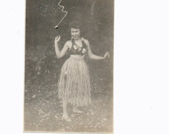 Little Grass Skirt retro Hawaii Hula Dancer snapshot vintage original old photograph found vernacular photo ephemera