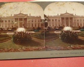C710)  Antique White House Stereoview Card  Keystone View Company washington, dc