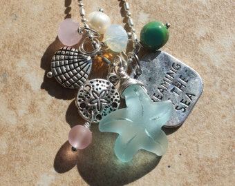 Charm Necklace, Seaglass Starfish Necklace, Sea shell, Sand dollar, Pinks & Greens, Dreaming of the Sea, Inarajewels, Unique Jewelry Gifts