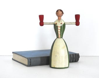 Swedish Wooden Maiden Candle Holder