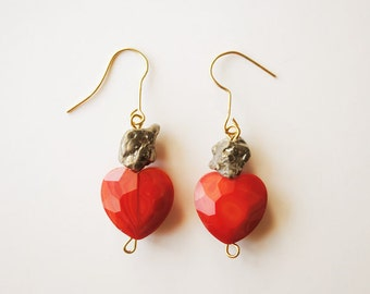 Heart and Pyrite Earrings