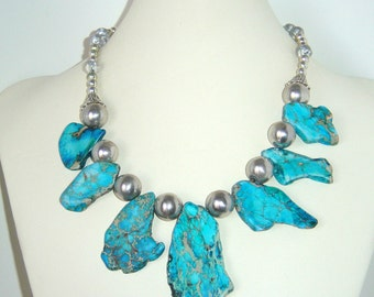 Blue Imperial Jasper Silver Glass Beaded Necklace