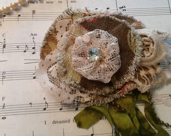 Lace and fabric pin, flower pin, tattered, shabby chic, wedding