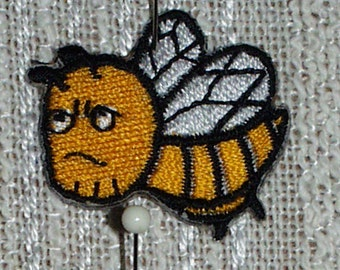 "Iron on Applique Set of 3 Angry Bees Applique Gold, Black and White   1.5"" x  1"" Super Cute   Ships Free Inside US"