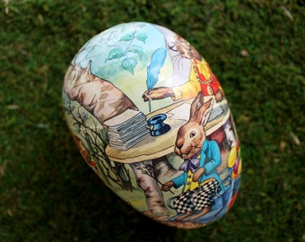 vintage paper mache Easter egg from West Germany, Easter decor, German paper mache, paper mache egg, Easter decoration