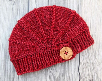 Red Newborn Hat, Hand Knitted Hat with Wood Button for Newborn Babies, Baby Beanie, Welcome Home Baby, Gift for New Parents, Baby Shower