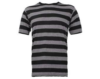 Men's Short Sleeve Black & Stone Grey Striped Shirt