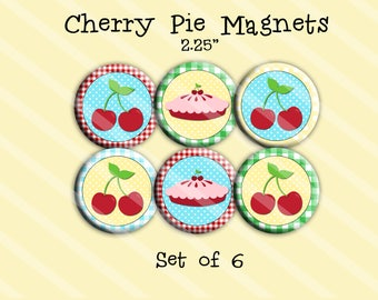 Cherry Pie Magnets 2.25 inch Set of 6