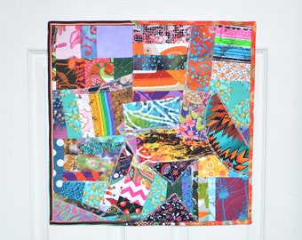 MADE TO ORDER Wall Hanging Mini Quilt Wall Art Patchwork Crazy Quilt Wall Decor Fiber Art Textile Art Quilted Mini Tapestry Wall Hanging
