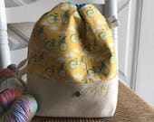 Knitting Project Bag - Project Bag - Medium Drawstring Bag - Lunch Bag -  Bicycle Fabric