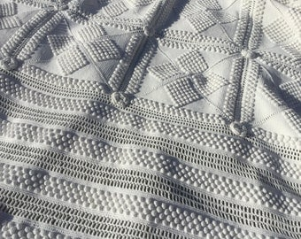 French vintage White bedspread, Handmade Crochet, 19th with fringes all around, sofa cover topper entirely Handmade crochet pure Cotton