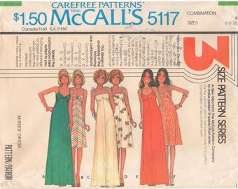 1976 - McCalls 5117 Vintage Sewing Pattern Sizes 6/8/10 Dress Halter Tie Straps Knot Spaghetti Straps Maxi Below The Knee Carefree