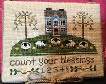 Finished Cross Stitch-Count Your Blessings