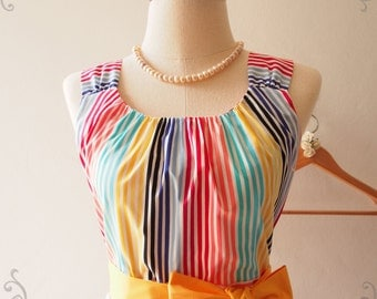 Rainbow Bright Skater Dress, Stripe Colorful Sundress, Vintage Retro Party Dress, Birthday Anniversary Graduation Dress, XS-XL,Custom