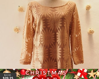 Christmas SALE Flash SALE Free Shipping- Vintage Stock, Lace Blouse, Brown Lace Blouse, Vintage, Boho, Hipsters Style Lace Sleeve Blouse,...