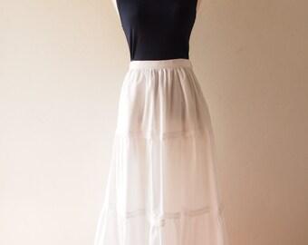 White Bohemian Skirt Boho Chic Skirt White Long Skirt Cotton White Maxi Skirt Beach Skirt - No.3