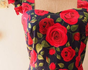 Clearance SALE Vintage Sundress Rose Floral Dress Vintage Modern Dress Summer Dress