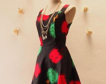 Clearance SALE SALE Mini Dress Black Apple Dress Summer Casual Dress Vintage Inspired Dress Straps Sleeveless Cute Sundress Shorts Dress ...