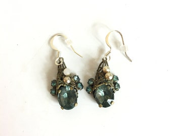 Vintage 1930s Pale Blue Rhinestone Petite Dangle Earrings