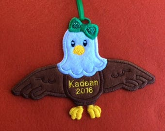 Personalized Eagle with Bow Ornament or Gift Tag