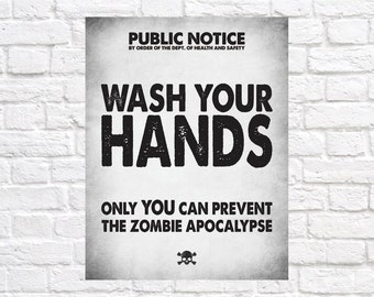 Zombie Hand Washing Sign - Washroom Decor - Instant Download
