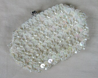 Vintage 1950s White Beaded Clutch 50s Sequin and Bead Evening Bag