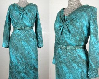 Vintage 1950s Dress 50s Abstract Print Wool Crochet Dress by Mancini Size M/L