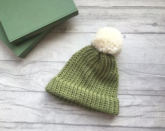 Sage green hand knitted hat, mothers day gift unisex hat with bobble, adults hat, pom pom beanie hat, spring fashion, ski beanie hat etsy uk