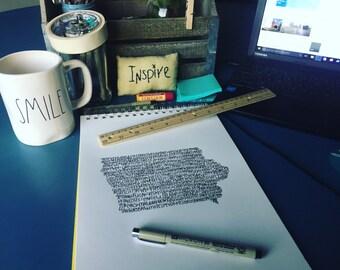 Typography Print. Handwritten. Art. State Art. Iowa Art. Iowa cities and towns. 8.5 X 11. Iowa map.