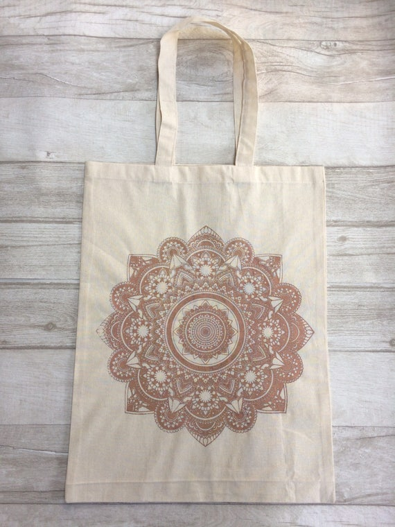 MANDALA TOTE BAG -Metallic -Mandala- Hippie bag- Screen print- Cotton Bag- Hand Printed- Bag for Life- Upcycled Bag- Recycle- Handmade