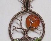 SALE - Tree of Life, Honey Amber Carnelian Wire Wrapped Tree of Life, Artisan Full Moon Tree of Life, Carnelian Necklace